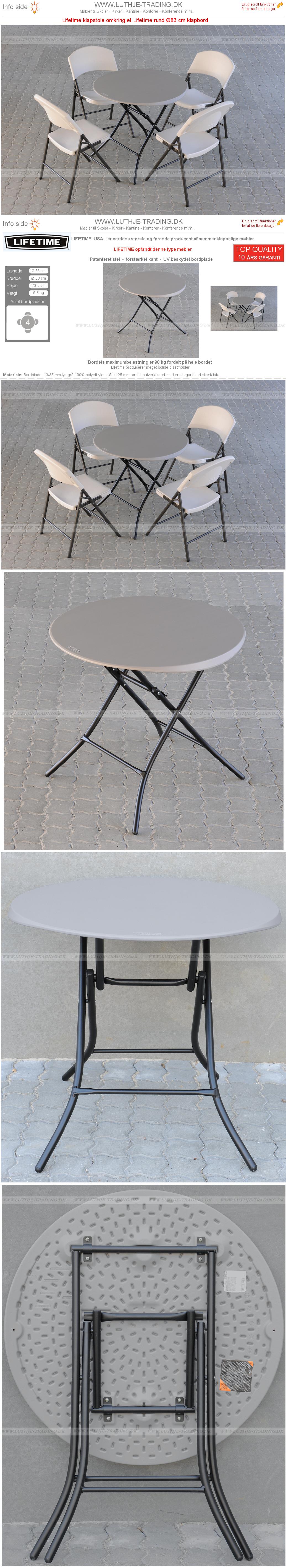 Rundt klapbord opstilling m. klapstole 3